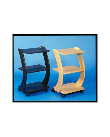 Cerri - Stolik drewniany na kółkach z 2 półkami