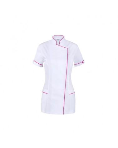 VENA Fartuszek medyczny spa 7 biały z różową lamówką