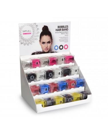 Bobbles Hair Band Gumki do włosów zestaw plus ekspozytor 24 szt (po3opx8 kolorów)